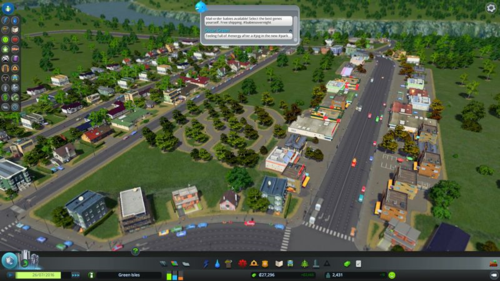 My newly-built park and a Chirper message about mail-order babies.