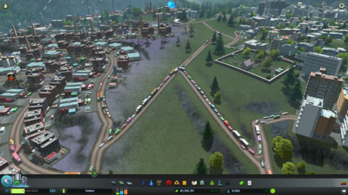 A traffic jam between one of the residential neighbourhoods and an industrial neighbourhood.