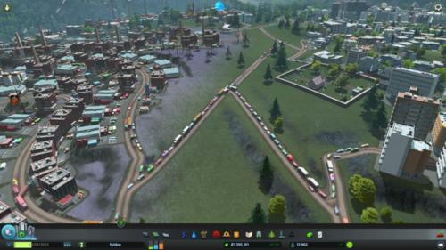 A traffic jam between one of the residential neighbourhoods and an industrial neighbourhood.