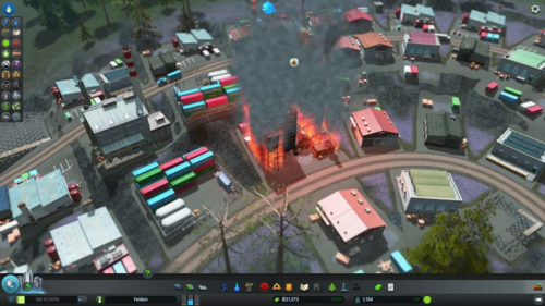 A burning factory.