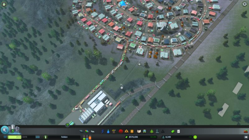 A traffic jam on the road leading to the train station.