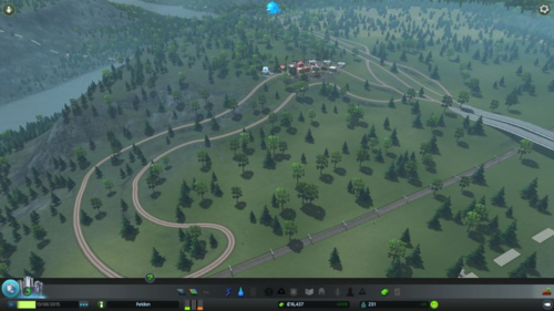 The industrial area is mainly a long road loop with a lot of bends and only a few factories.