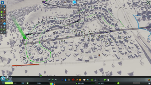 The industrial area partly covered by a bus line, and partly covered by complaints over not having a bus line.
